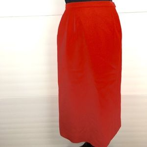 Red Pendleton Wool Pencil Skirt